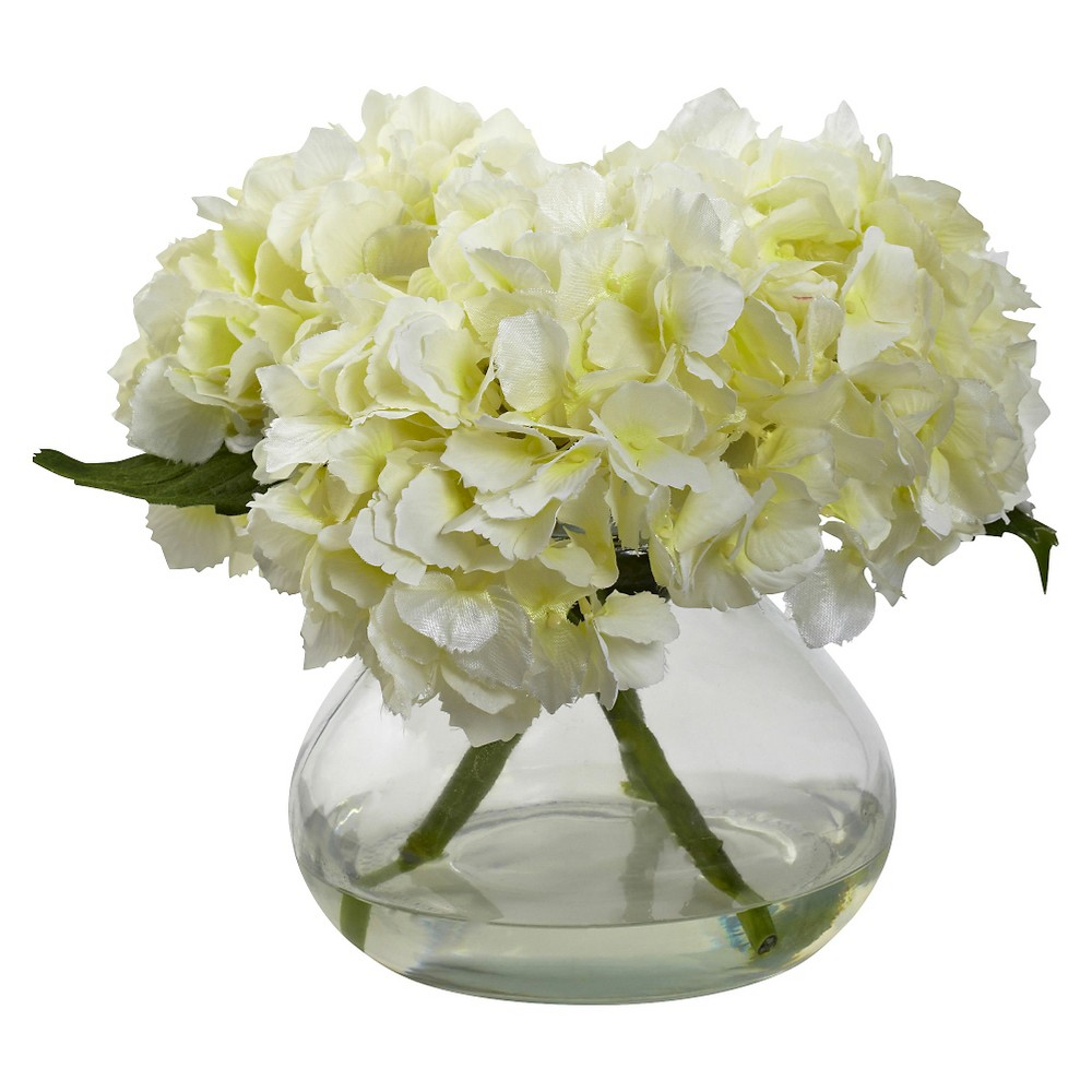 Image of Nearly Natural Blooming Hydrangea with Vase