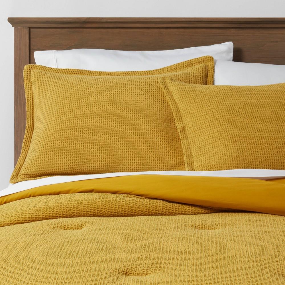 Twin Extra Long Washed Waffle Weave Comforter 38 Sham Set Citron Threshold 8482