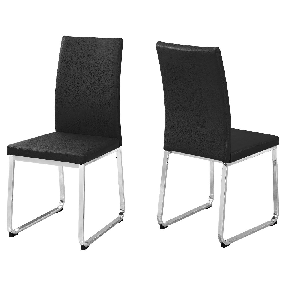 Dining Chair - 2 Piece - Black Leather, Chrome - EveryRoom