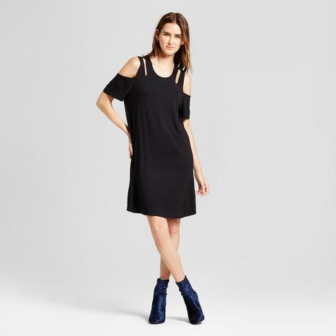 Womens Cold Shoulder Cut Out Swing Dress Alison Andrews Black