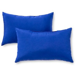 Set of 2 Solid Outdoor Rectangle Throw Pillows - Kensington Garden