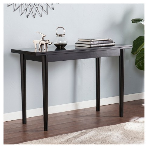 Caplow Flip Top Convertible Console To Dining Table Black Aiden