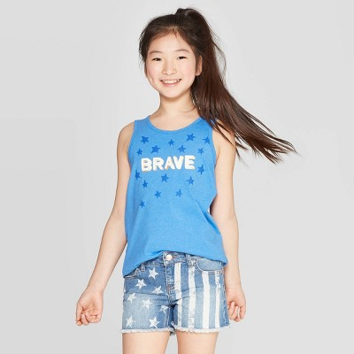 view Girls' Brave Graphic Tank Top - Cat & Jack Blue on target.com. Opens in a new tab.