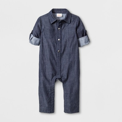 Baby Boys' Collared Long Sleeve Denim Romper - Cat & Jack™ Blue 3-6M