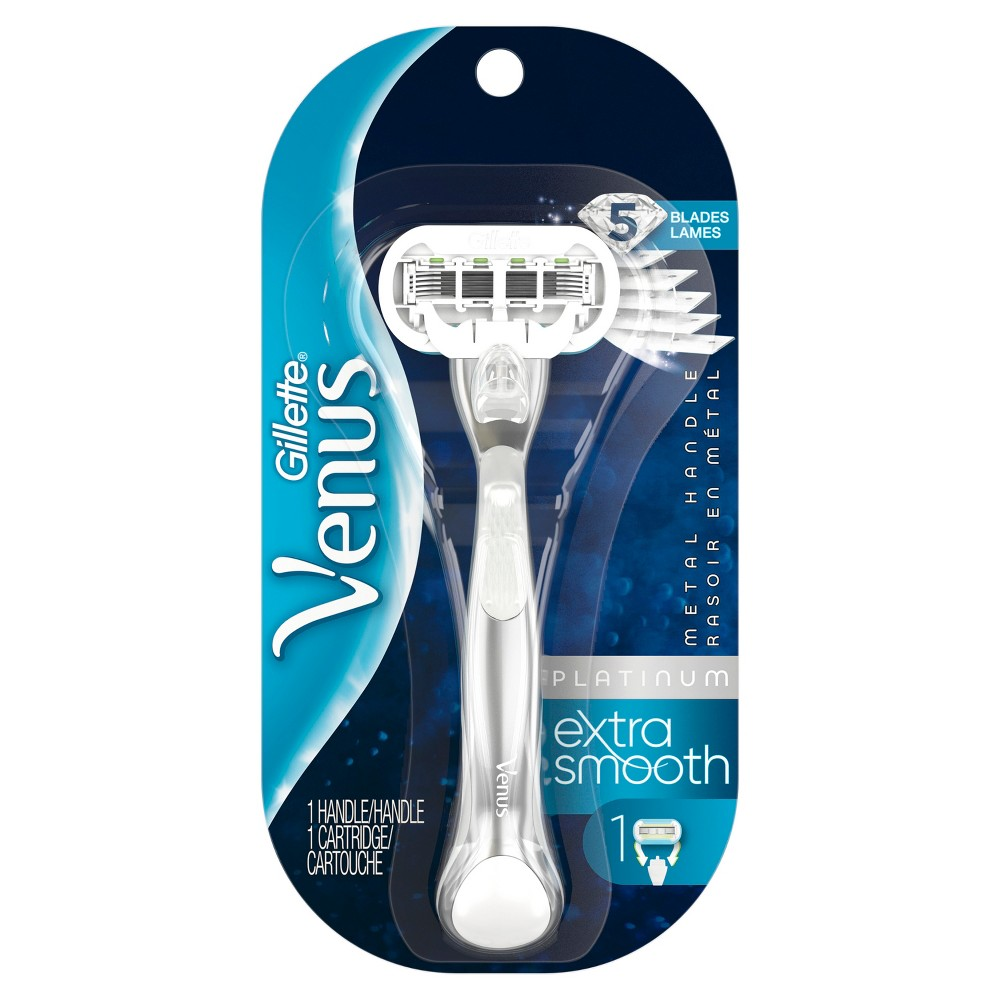 Venus Platinum Extra Smooth Metal Handle Women's Razor - 1 Handle + 1 Refill