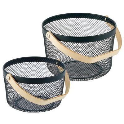 mDesign Farmhouse Metal Storage Organizer Basket Medium, Set of 2
