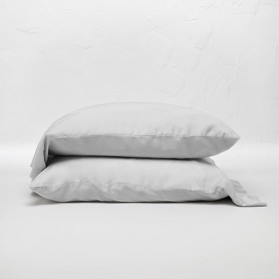Standard 400 Thread Count Washed Lyocell Solid Pillowcase Set Light Gray - Casaluna™