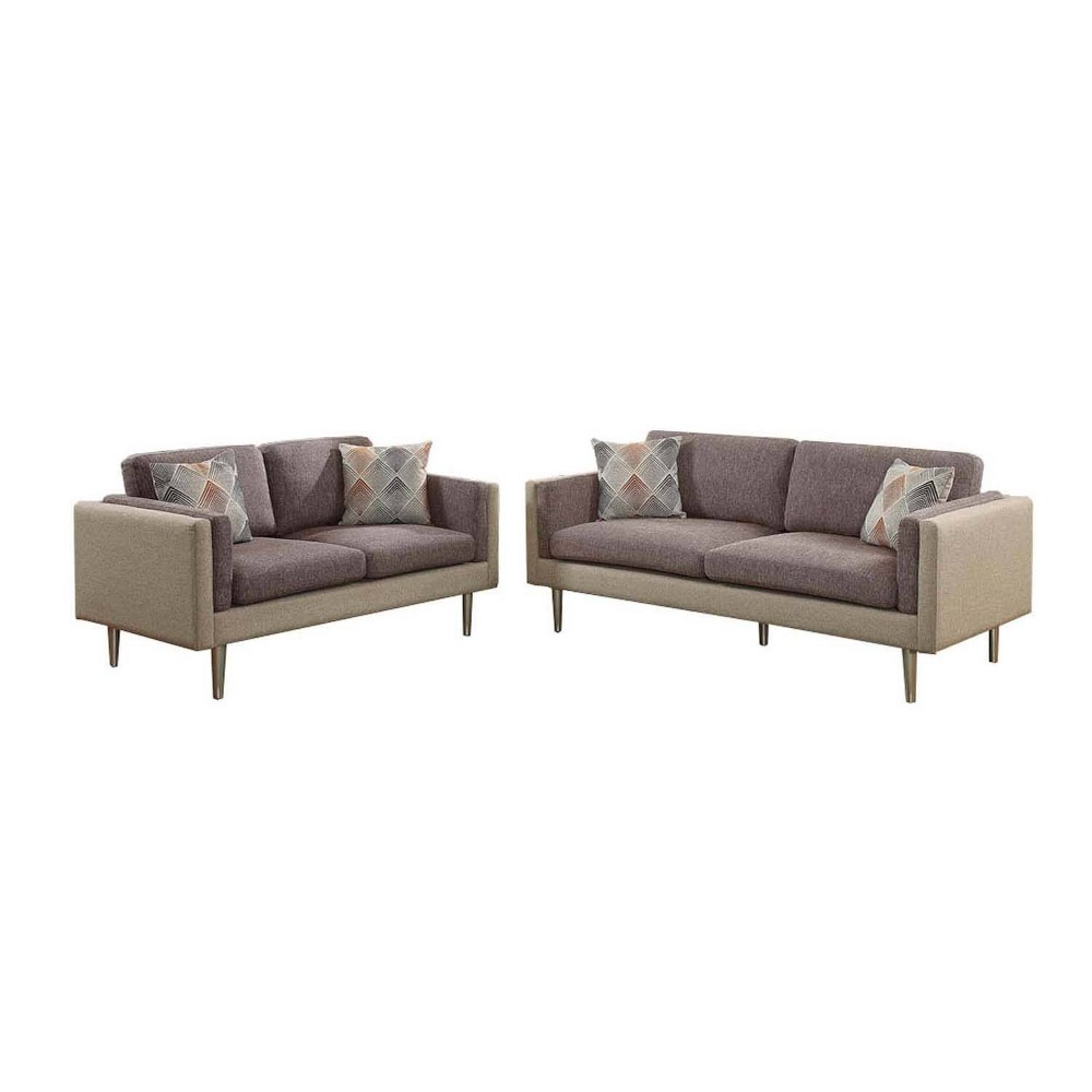 Image of 2pc Plushed Cushion Sofa Set With Accent Pillows Brown - Benzara