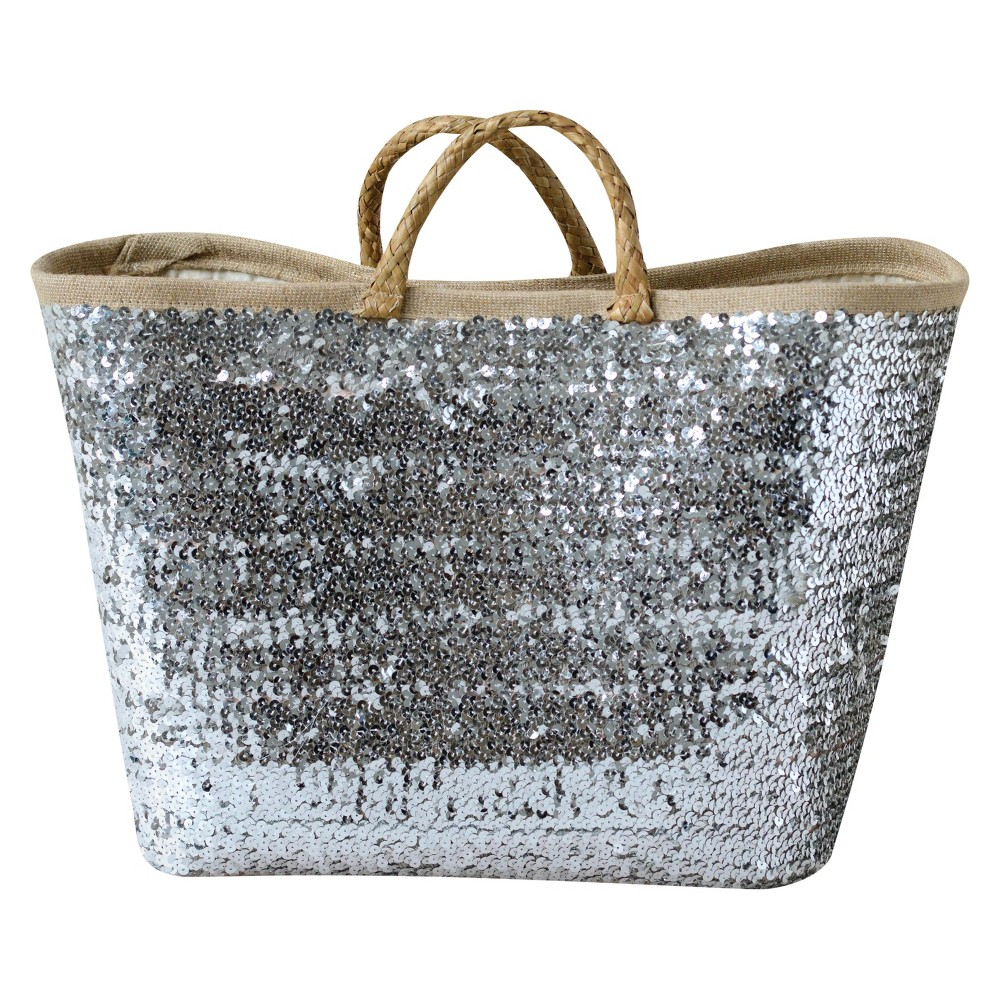 Seagrass Woven Basket With Sequins - 3R Studios, Silver