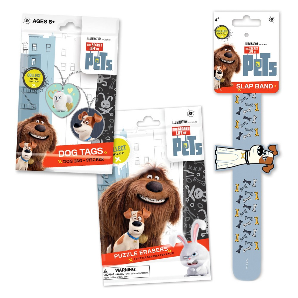 Secret Life of Pets Collectible Bundle Keep your love of pets and collection growing with this great mix of collectible Secret Life of Pets items! Each Secret Life of Pets Bundle includes 1 Random Secret Life of Pets Dog Tag, 1 Random Secret Life of Pets 3D Slap Band,and 1 Random Secret Life of Pet Puzzle Eraser. Contents will vary. Gender: Unisex.