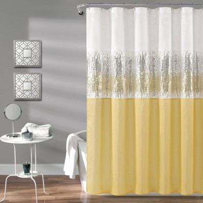 Night Sky Shower Curtain Yellow/White - Lush Décor