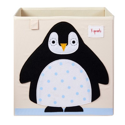3 Sprouts Large 13 Inch Square Children's Foldable Fabric Storage Cube Organizer Box Soft Toy Bin, Arctic Penguin