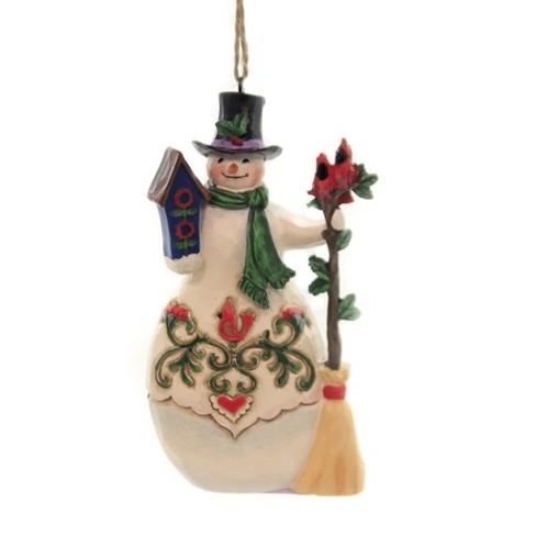 Jim Shore 4 5 Snowman Cardinals Birdhouse Ornament Tree Ornaments Target