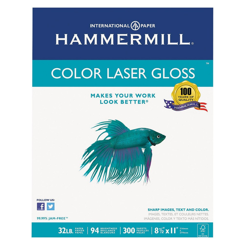 Hammermill Color Laser Gloss Paper, 94 Brightness, 32 lb - White (300 Sheets Per Pack)