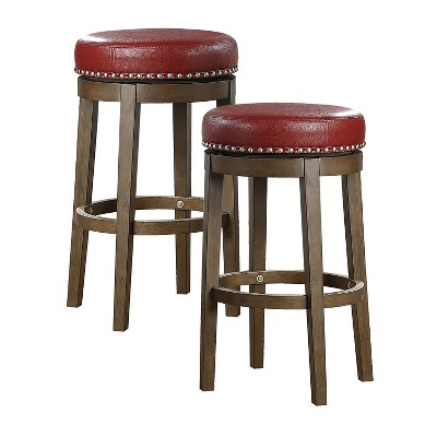 Lexicon Whitby 30.5 Inch Pub Counter Height Wooden Bar Stool with Solid Wood Legs and Faux Leather Round Swivel Seat Kitchen Barstool, Red (2 Pack)
