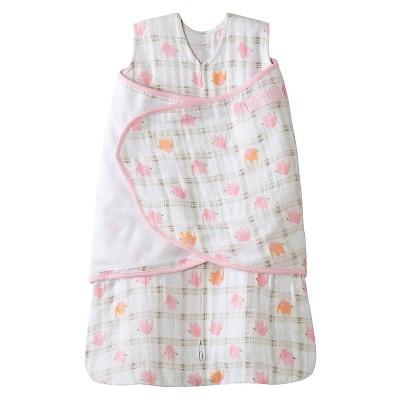 HALO® Sleepsack® 100% Cotton Muslin Swaddle - Pink Elephant Plaid - S