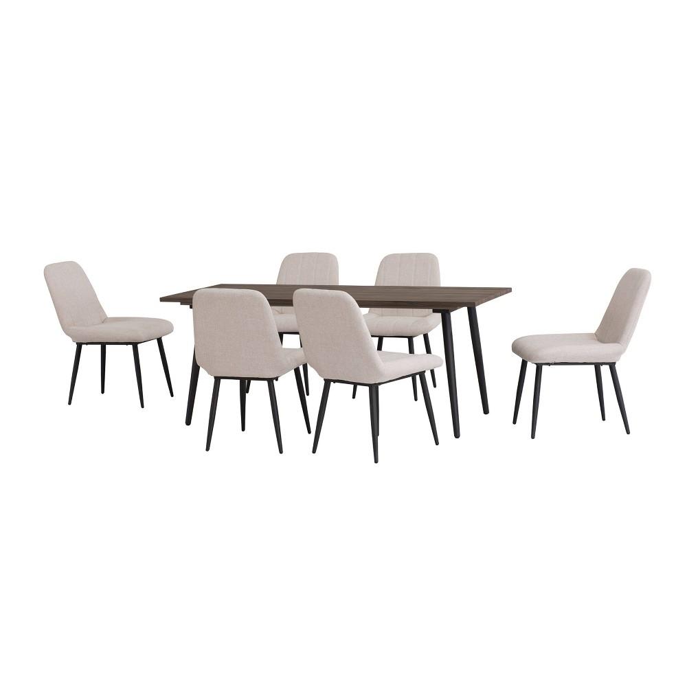 Image of Henrietta 7pc Aluminum Patio Dining Set Beige - Sunjoy