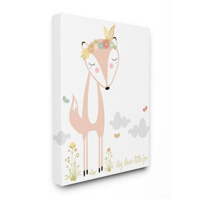 "24""x1.5""x30"" Peach Floral and Feathered Stay Clever Little Fox Oversized Stretched Canvas Wall Art - Stupell Industries"