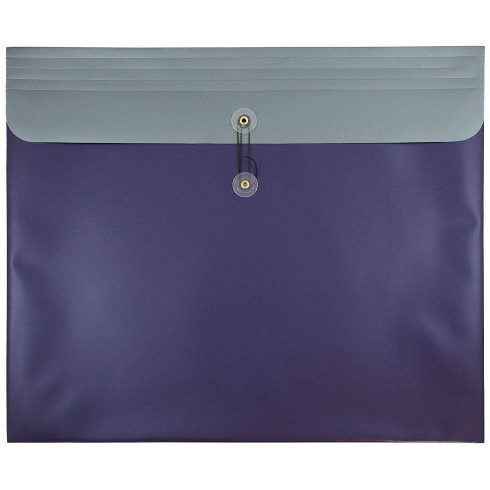 Jam Paper 15'' x 18'' 12pk Plastic Envelopes with Button and String Tie Closure - Metallic Purple