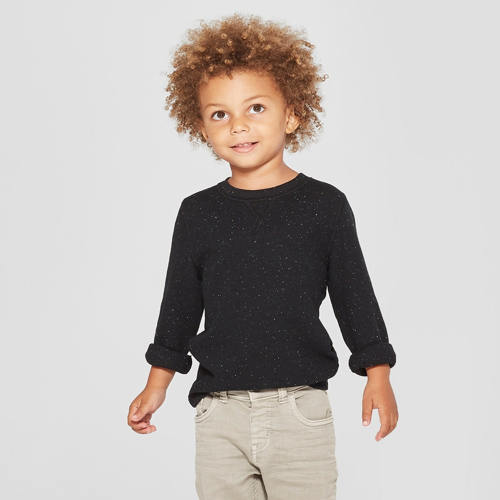 Toddler Boys' Thermal Long Sleeve T-Shirt - Cat & Jack Black 4T