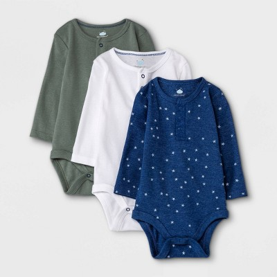 Baby Boys' 3pk Basic Henley Long Sleeve Bodysuit - Cloud Island™ Dark Green 0-3M