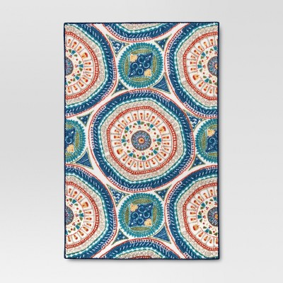 "20""x34"" Medallion Accent Kitchen Rug Blue - Threshold™"