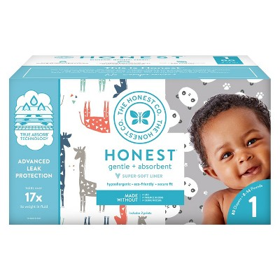 Honest Company Disposable Diapers Club Pack Pandas & Giraffes - Size 1 (80ct)