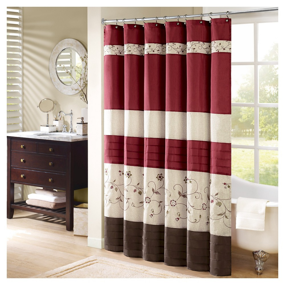 Monroe Floral and Embroidered Shower Curtain Red