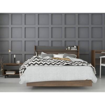 3pc Full Neptune Bedroom Set Walnut/Charcoal - Nexera