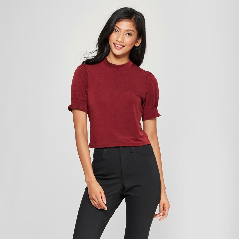 1930s Style Blouses, Shirts, Tops | Vintage Blouses Womens Short Sleeve Mockneck Top - Xhilaration Red XL $7.64 AT vintagedancer.com