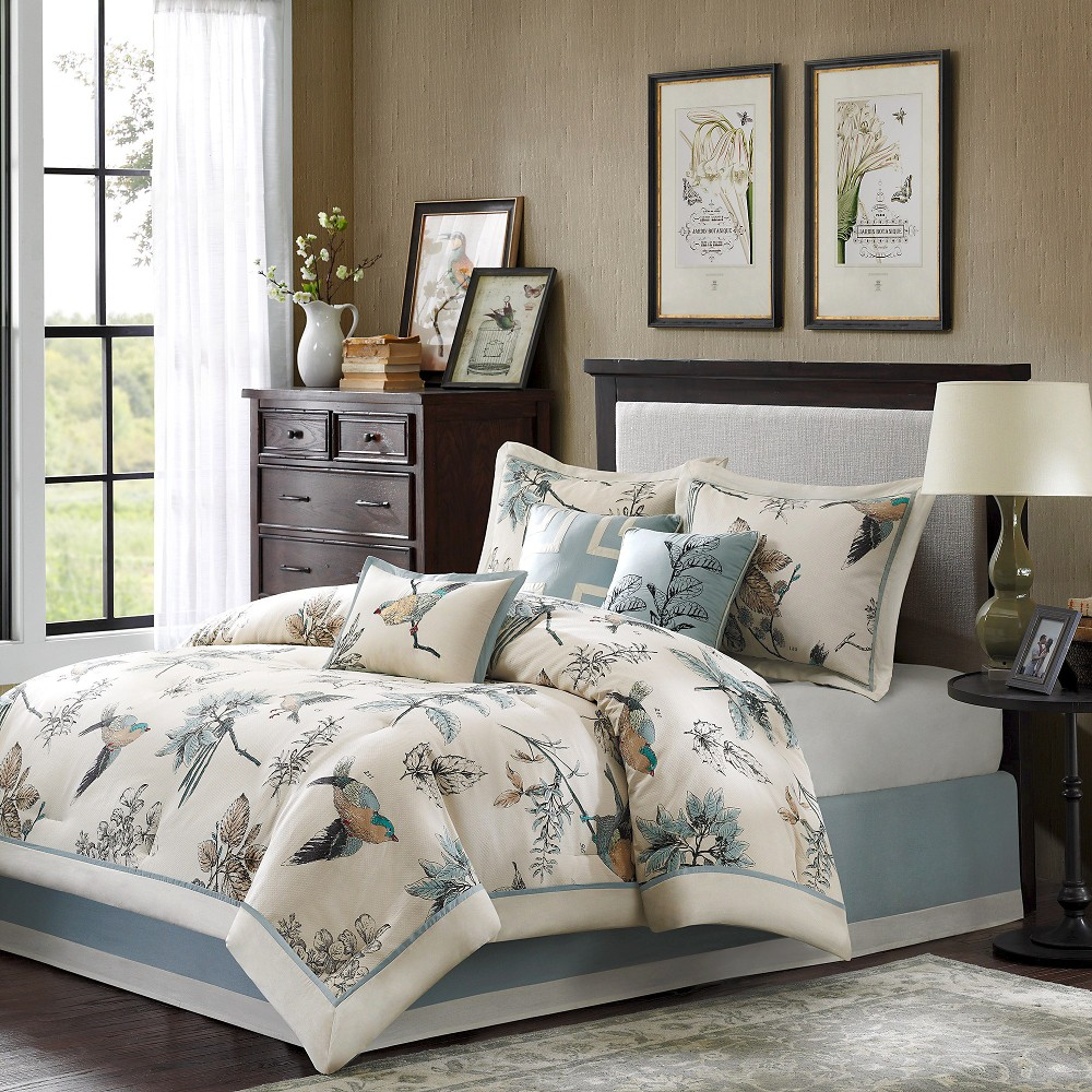 Tan/Blue Ramsey Comforter Set Queen 7pc, Beige