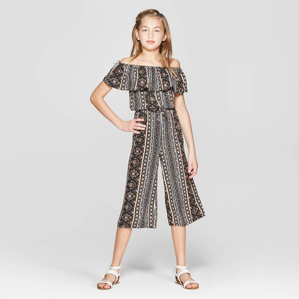 Girls' Off the Shoulder Woven Jumpsuit - art class Black XS