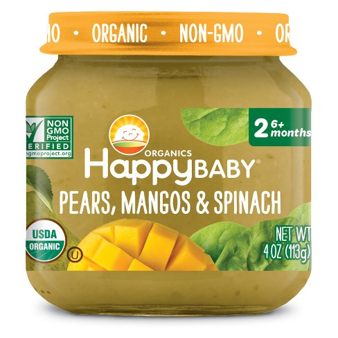 HappyBaby Fruit And Vegetable Snacks Pears, Mangos & Spinach Baby Food - 4oz - image 1 of 2