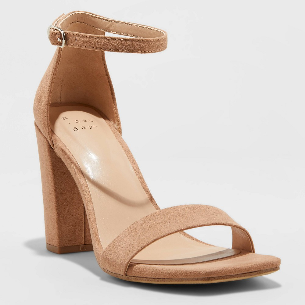 Women 39 S Ema Wide Width High Block Square Toe Sandals A New Day 8482 Tan 9w