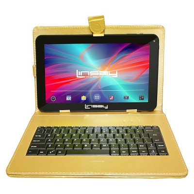 """LINSAY 10.1"""" Quad Core Tablet with Golden Keyboard Case 32GB"""