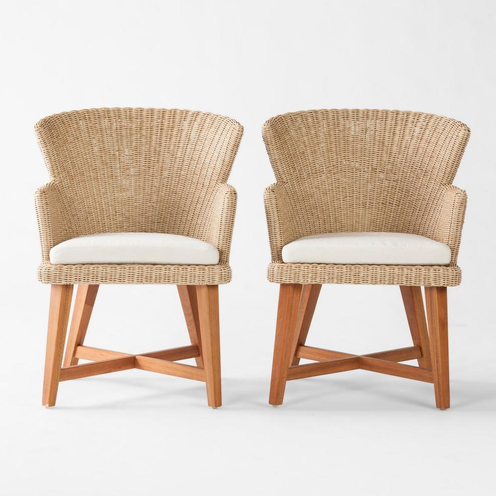 Staton 2pk Wood & All Weather Wicker Patio Dining Chair w/Sunbrella Cushion - Brown/Beige - Smith & Hawken