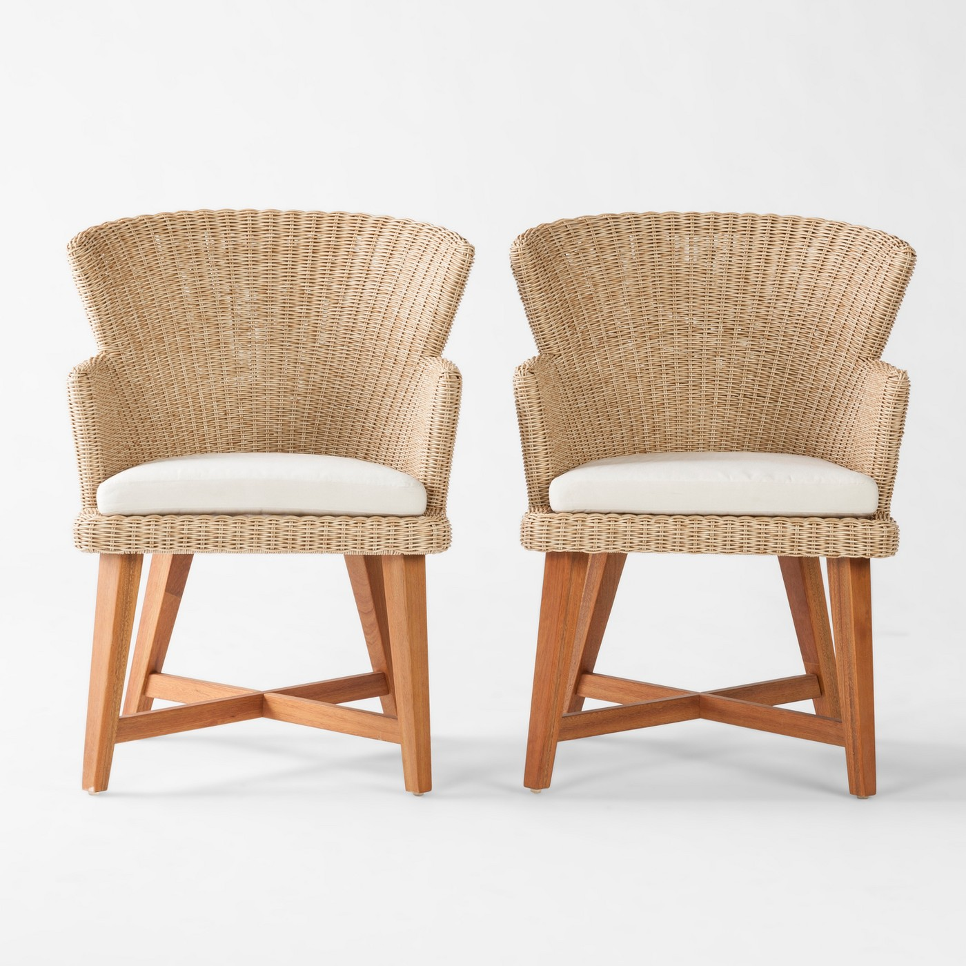 Staton 2pk Wood & All Weather Wicker Patio Dining Chair w/Sunbrella Cushion - Brown/Beige - Smith & Hawken™ - image 1 of 5