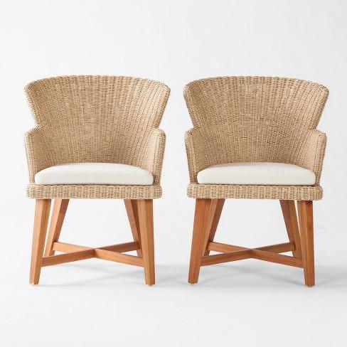 Staton 2pk Wood All Weather Wicker Patio Dining Chair W Sunbrella Cushion Brown Beige Smith Hawken