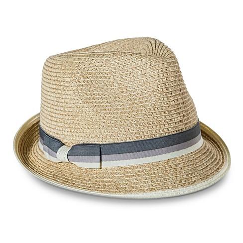 Women s Ivory Trim And Bow Sash Fedora Hat - Merona™ Tan   Target 93675609901