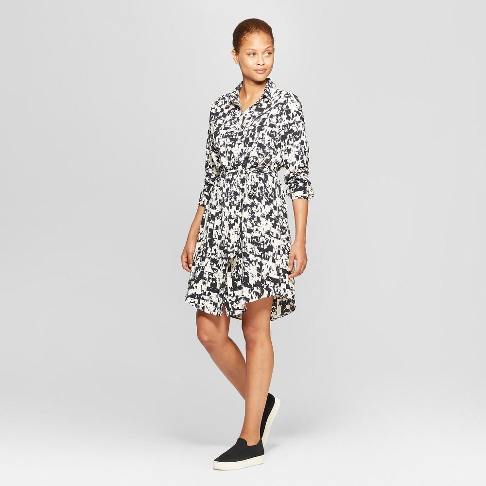 Women's Printed Long Sleeve Collared Mini Shirtdress - Prologue Black/Cream M, Black/White