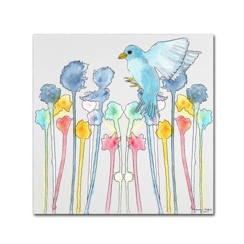 'Wildflowers With Bird' by Tammy Kushnir Ready to Hang Canvas Wall Art - image 1 of 4