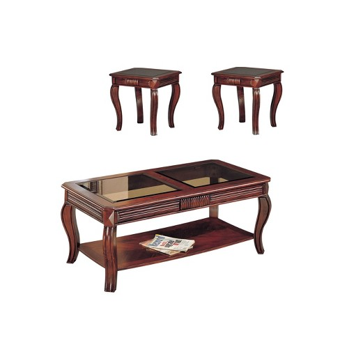 Phenomenal 3Pc Overture Coffee And End Table Set With Smoky Glass Cherry Acme Caraccident5 Cool Chair Designs And Ideas Caraccident5Info