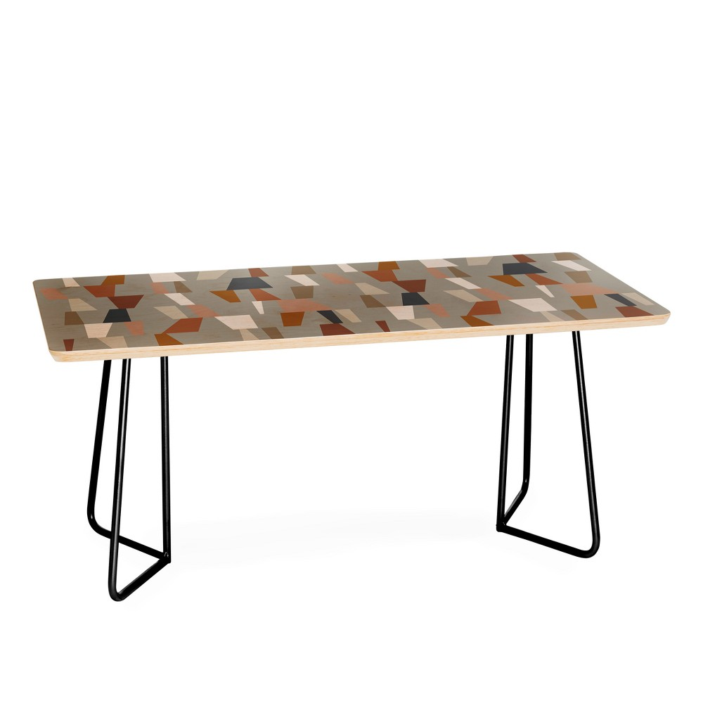 The Old Art Studio Neutral Geometric Coffee Table with Black Aston Legs - Deny Designs, Black Legs