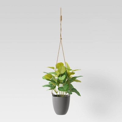 Artificial Hanging Potted Plant Dark Gray - Room Essentials™