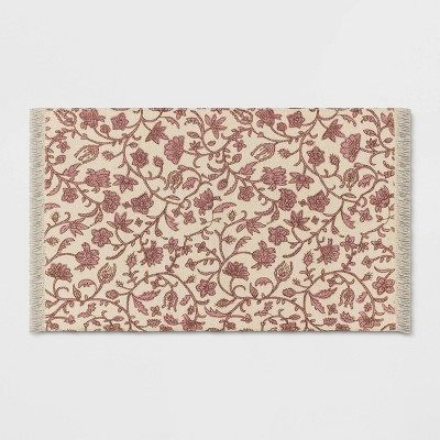 """34"""" x 20"""" Jute Floral Printed Kitchen Rug Red - Threshold™"""