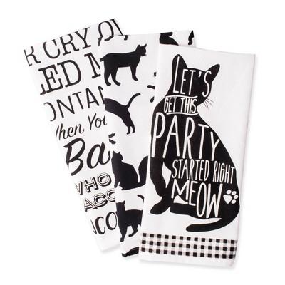 3pk Cotton Assorted Cat Print Dishtowels Black/White - Design Imports