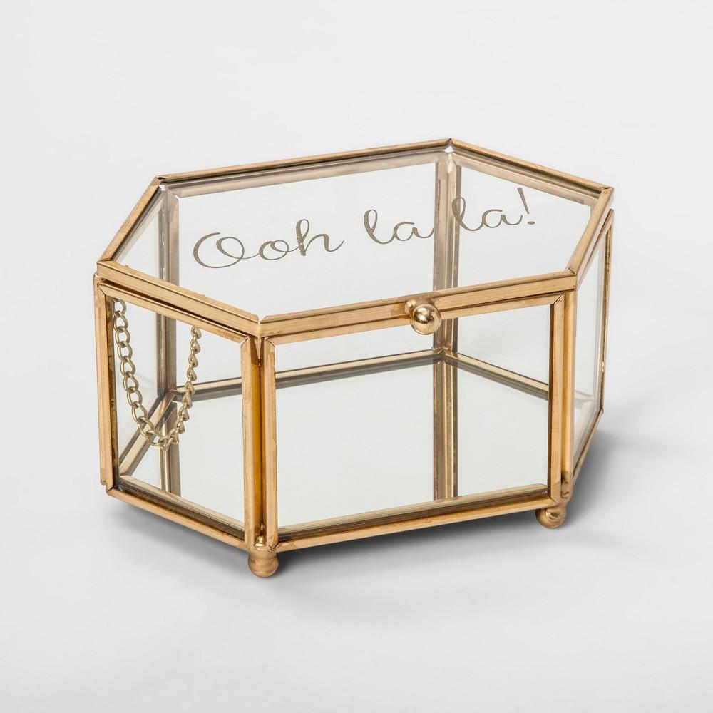 Small Glass Jewelry Storage Box Gold - 88 Main