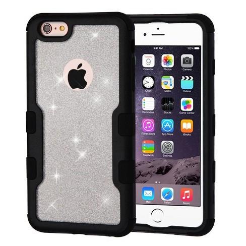 MYBAT For Apple iPhone 6 Plus/6s Plus Black Silver Tuff Hard TPU Hybrid Glitter Case - image 1 of 2