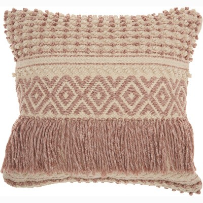 Boho Fringe Oversize Square Throw Pillow Blush - Mina Victory