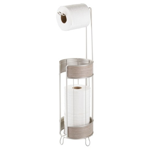 realwood free standing toilet paper holder satin : target